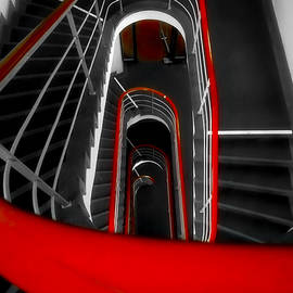 Stairs with red railing by Jane Selverstone