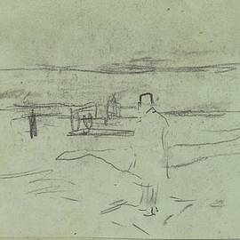Jozef Israels - Standing man in a landscape, Jozef Israels, 1834 - 1911