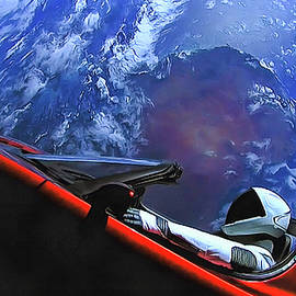 Starman in Tesla with planet earth