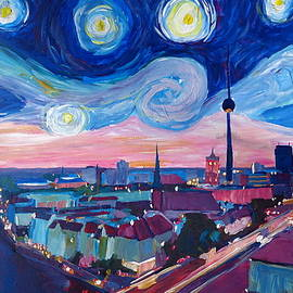 M Bleichner - Starry Night in Berlin - Van Gogh Inspirations in Germany with Skyline