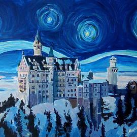 M Bleichner - Starry Night in Neuschwanstein - Romantic Castle inspired with Van Gogh