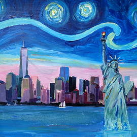 M Bleichner - Starry Night over Manhattan with Statue of Liberty