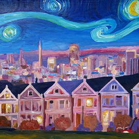 M Bleichner - Starry Night with Painted Ladies San Francisco with Van Gogh Inspirations