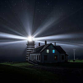 Marty Saccone - Stars and Light Beams - West Quoddy Head Lighthouse