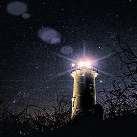 Stars over Nobska lighthouse by Jeff Folger