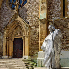 Statue Of Pope John Paul II Statue In Front Of Sacred Heart Cathedral, Sarajevo by Global Light Photography - Nicole Leffer