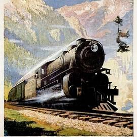 Studio Grafiikka - Steam Engine train through the Montana Rockies - Vintage Illustrated Poster