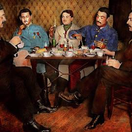 Mike Savad - Steampunk - Bionic three having tea 1917