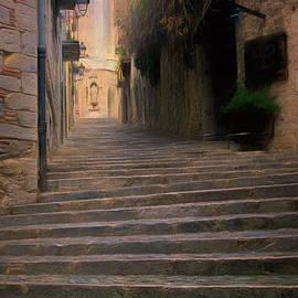 Steep Steps Of Girona by Joan Carroll