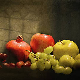 Levin Rodriguez - Still Life - Grapes Apples and Pomegranate  under a Window