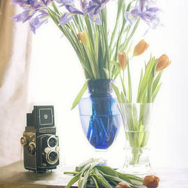 Still Life - Tulips Irises and Camera - Jon Woodhams