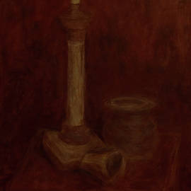 Jacob R - Still Life with a Chandelier, Pot and Cup