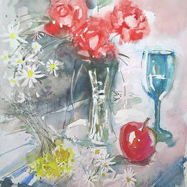 Still Life With Apple And Flowers by Lorand Sipos