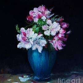 Still life with apple tree flowers in a blue vase by Amalia Suruceanu