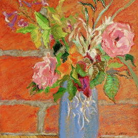 Still Life With Blue McCoy Vase by Bonnie See
