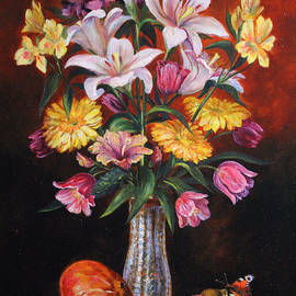 Still life with flowers, a pumpkin and apples by Leonid Polotsky