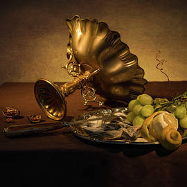 Levin Rodriguez - Still Life with Gilded Tazza - Oysters and Grapes