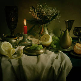 Still life with metal pots and fruits by Jaroslaw Blaminsky