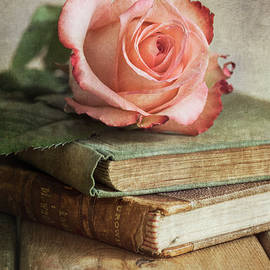 Jaroslaw Blaminsky - Still life with pink rose and old books