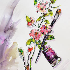 Still Life With Roses And Artist Tools by Ginette Callaway