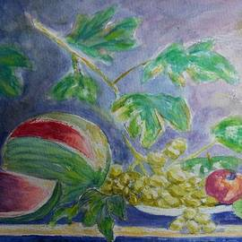 Still life with watermelon and grapes by Olga Malamud-Pavlovich