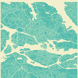 STOCKHOLM STREET MAP - Jazzberry Blue