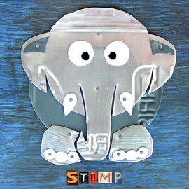 Stomp the Elephant Recycled License Plate Animal Art - Design Turnpike