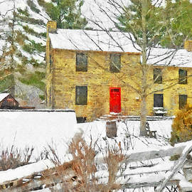 Stone House At The Oliver Miller Homestead In Winter by Digital Photographic Arts