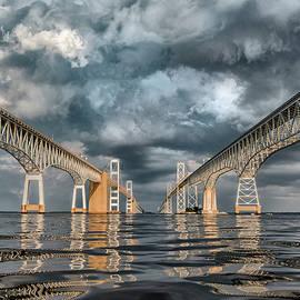 Stormy Chesapeake Bay Bridge by Erika Fawcett