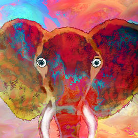 Strawberry Elephant by Abstract Angel Artist Stephen K