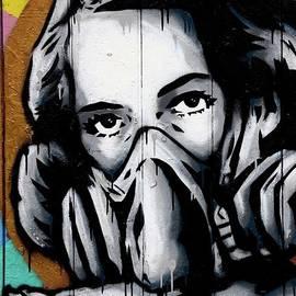 Imran Ahmed - Street art wall mural graffiti of woman wearing oxygen gas mask London England