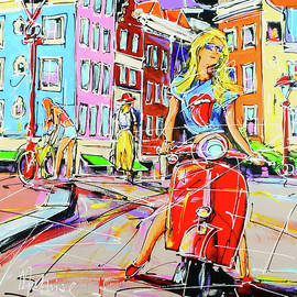 Street of Amsterdam, red scooter and girl by Mathias Kleien Atelier Online