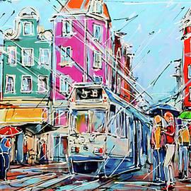 Street of amsterdam, tram in rain by Mathias Kleien Atelier Online