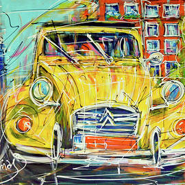 Street of Amsterdam, yellow 2CV - portrait. by Mathias Kleien Atelier Online