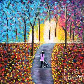 Stroll on the pathway colorful painting by Manjiri Kanvinde