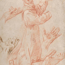 Studies for a Figure of Saint Francis Kneeling in a Three-Quarter View and for His Hands - Annibale Carracci