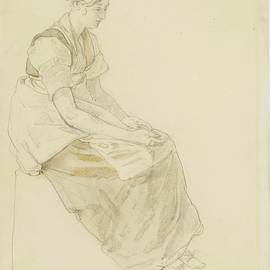 ADAM - Study of a seated young woman facing right