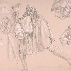 Study Of A Young Man Bending Forward To Kiss A Hand, For The Painting The Departure Of The Prodigal  by James Tissot