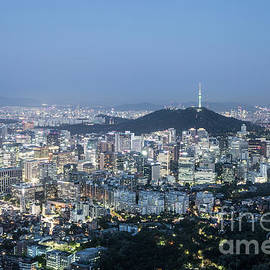 Stunning Aerial View Of Seoul Business District At Dusk In South by Didier Marti