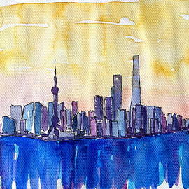 M Bleichner - Stunning Shanghai Skyline in Watercolor