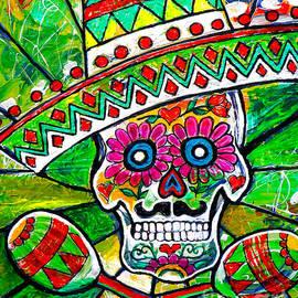 Sugar Skull With Sombrero And Marakas by Genevieve Esson