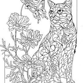 Summer Cat Outline by Sherry Shipley