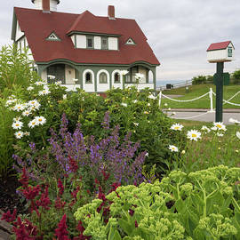Summer Flowers And Portland Head Light #134775 by John Bald