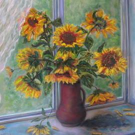 Katia Iourashevich Ricci - Summer in a blue window with italian sunflowers in a pot