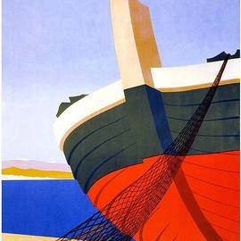 Studio Grafiikka - Summer in Italy - Bow Of a Fishing Boat With Net - Retro travel Poster - Vintage Poster