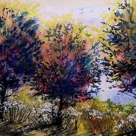 David K Myers - Summer Trees Watercolor
