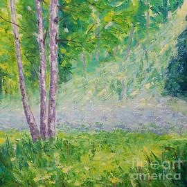 Sunbeam in the misty forest by Olga Malamud-Pavlovich