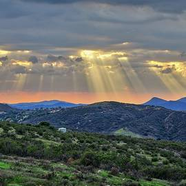Sunbeams Over Moorpark Hills by Lynn Bauer