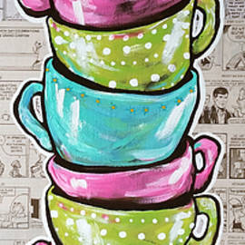 Sunday's Cup A Joe Pink Coffee Mugs Newspaper Comics Washington Post Jackie Carpenter  by Jackie Carpenter