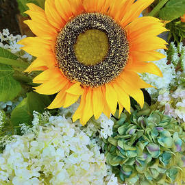 Sunflower and Hydrangeas by Sharon Williams Eng